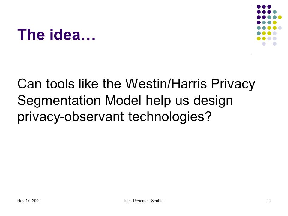 Nov 17, 2005Intel Research Seattle11 The idea… Can tools like the Westin/Harris Privacy Segmentation Model help us design privacy-observant technologies