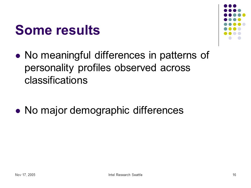 Nov 17, 2005Intel Research Seattle16 Some results No meaningful differences in patterns of personality profiles observed across classifications No major demographic differences
