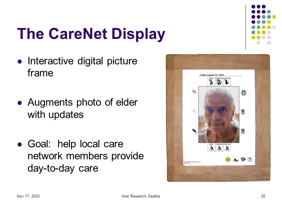Nov 17, 2005Intel Research Seattle26 The CareNet Display Interactive digital picture frame Augments photo of elder with updates Goal: help local care network members provide day-to-day care