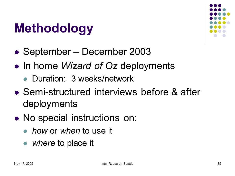 Nov 17, 2005Intel Research Seattle35 Methodology September – December 2003 In home Wizard of Oz deployments Duration: 3 weeks/network Semi-structured interviews before & after deployments No special instructions on: how or when to use it where to place it