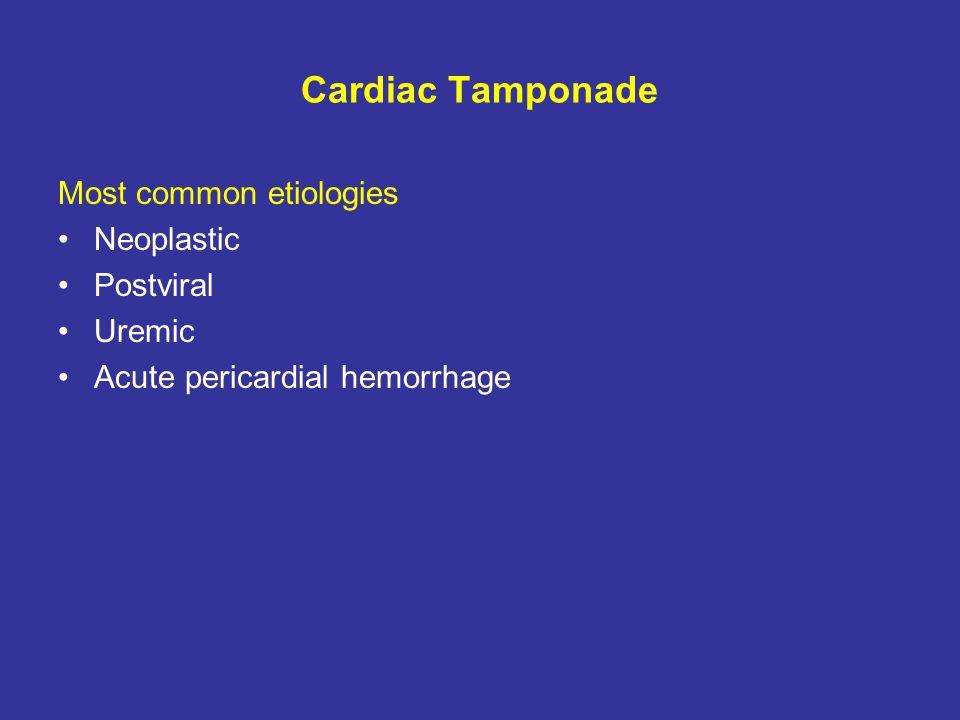 Cardiac Tamponade Most common etiologies Neoplastic Postviral Uremic Acute pericardial hemorrhage