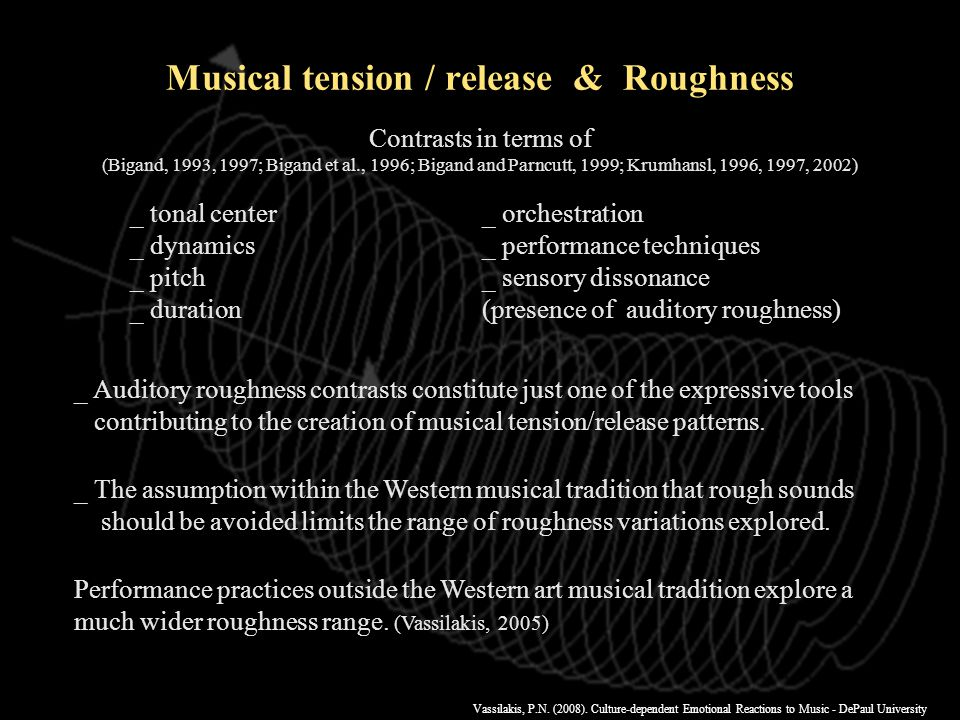 Vassilakis, P.N. (2008). Culture-dependent Emotional Reactions to Music - DePaul University SRA online http://musicalgorithms.ewu.edu/algorithms/rough