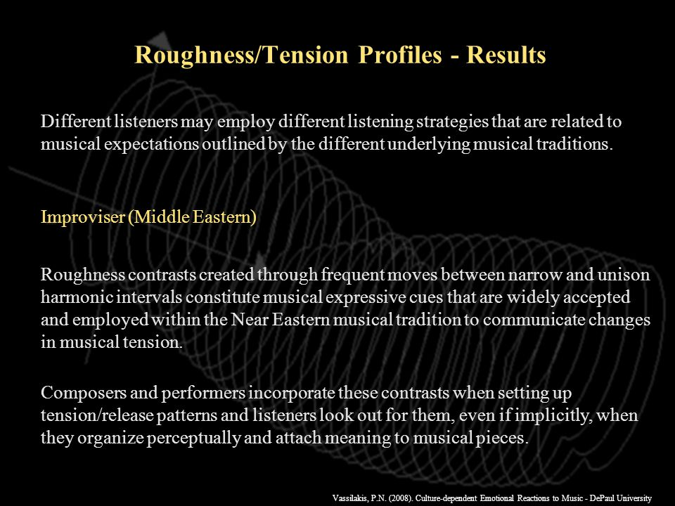 Vassilakis, P.N. (2008). Culture-dependent Emotional Reactions to Music - DePaul University r=0.068 r=0.422 Roughness & Tension Profiles