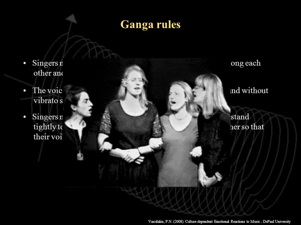 Vassilakis, P.N. (2008). Culture-dependent Emotional Reactions to Music - DePaul University Ganga rules Singers must sing loudly and maintain uniform