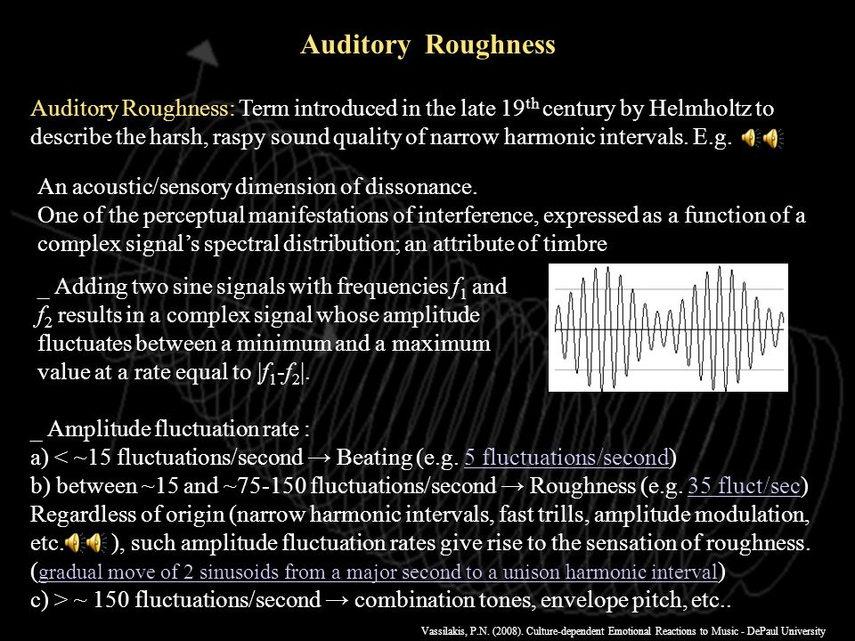 Vassilakis, P.N. (2008). Culture-dependent Emotional Reactions to Music - DePaul University 1.Auditory roughness Concept & Models 2.SRA - Spectral Ana
