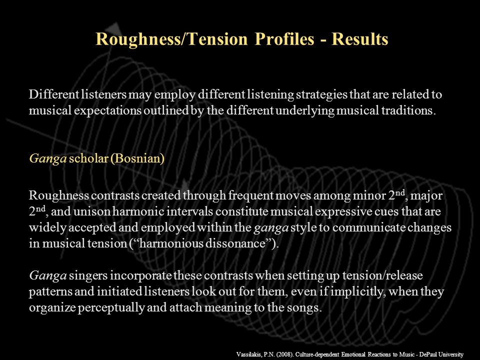 Vassilakis, P.N. (2008). Culture-dependent Emotional Reactions to Music - DePaul University r=0.44 r=0.36 r=0.82 Roughness/Tension Profiles - Results