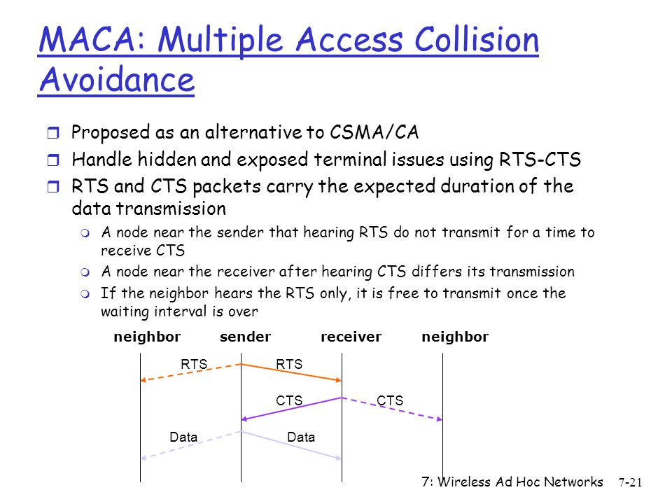 7: Wireless Ad Hoc Networks7-21 MACA: Multiple Access Collision Avoidance r Proposed as an alternative to CSMA/CA r Handle hidden and exposed terminal