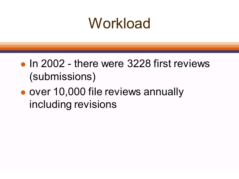 Workload l In 2002 - there were 3228 first reviews (submissions) l over 10,000 file reviews annually including revisions