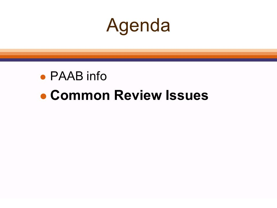 Agenda l PAAB info l Common Review Issues