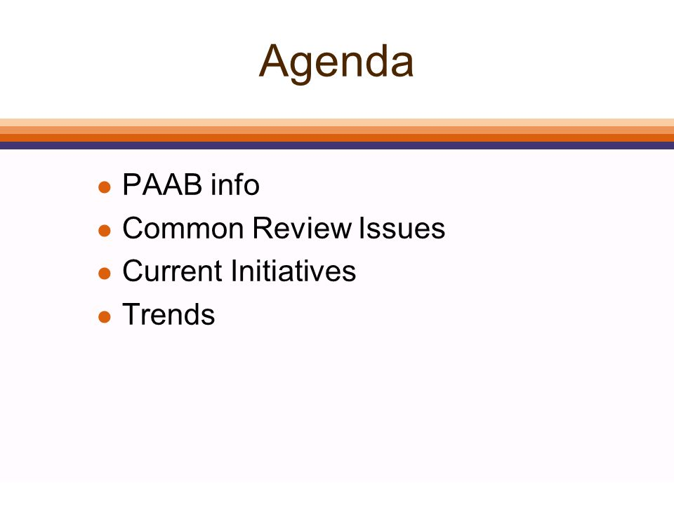 Agenda l PAAB info l Common Review Issues l Current Initiatives l Trends