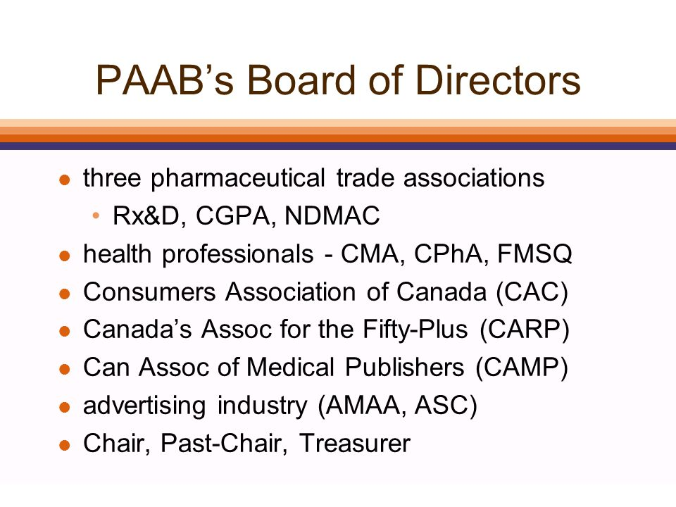 PAAB Task Forces - 2003 1.Health Canada relations 2.