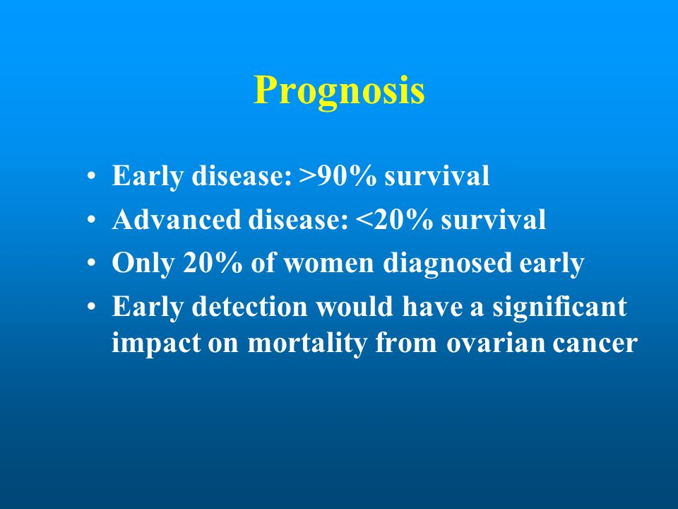 Prognosis Early disease: >90% survival Advanced disease: <20% survival Only 20% of women diagnosed early Early detection would have a significant impa