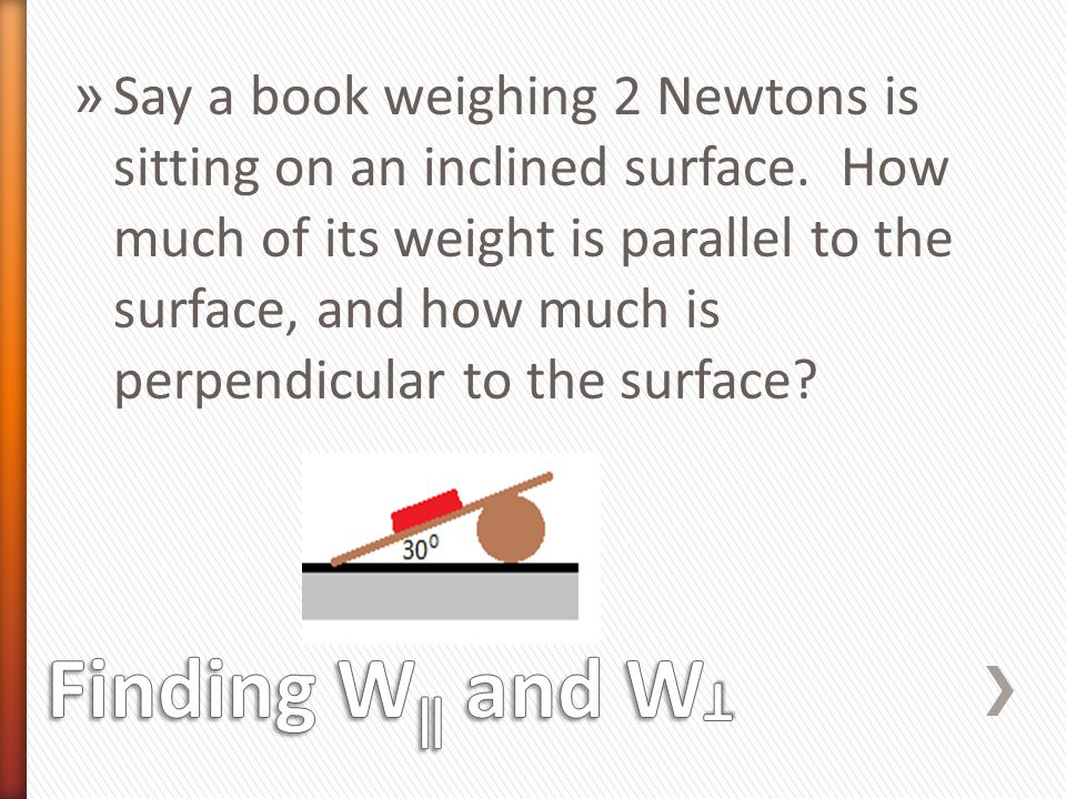 » Say a book weighing 2 Newtons is sitting on an inclined surface. How much of its weight is parallel to the surface, and how much is perpendicular to