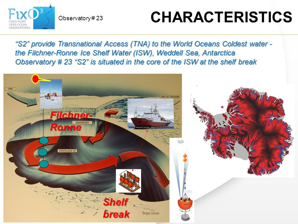 """Observatory # 23 CHARACTERISTICS """"S2"""" provide Transnational Access (TNA) to the World Oceans Coldest water - the Filchner-Ronne Ice Shelf Water (ISW),"""