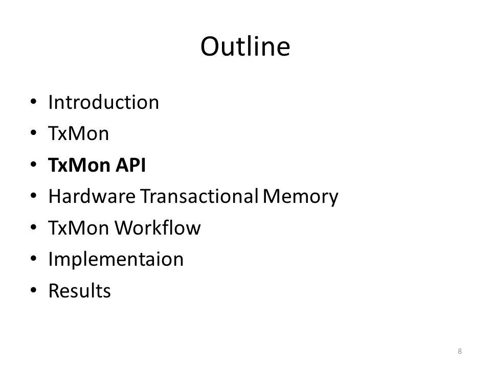 Outline Introduction TxMon TxMon API Hardware Transactional Memory TxMon Workflow Implementaion Results 8
