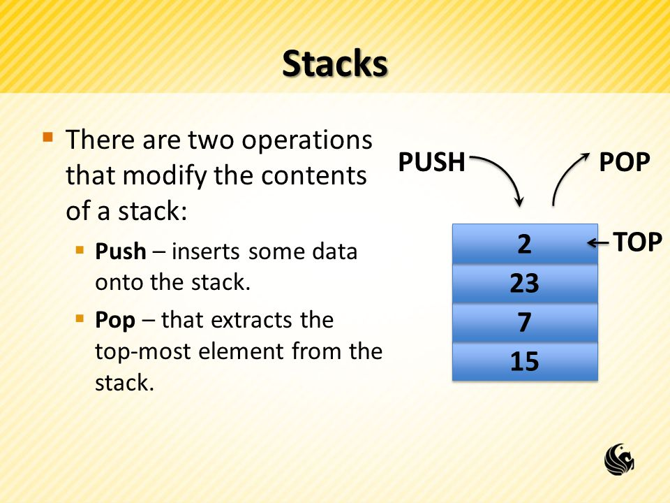Stacks  There are two operations that modify the contents of a stack:  Push – inserts some data onto the stack.  Pop – that extracts the top-most e
