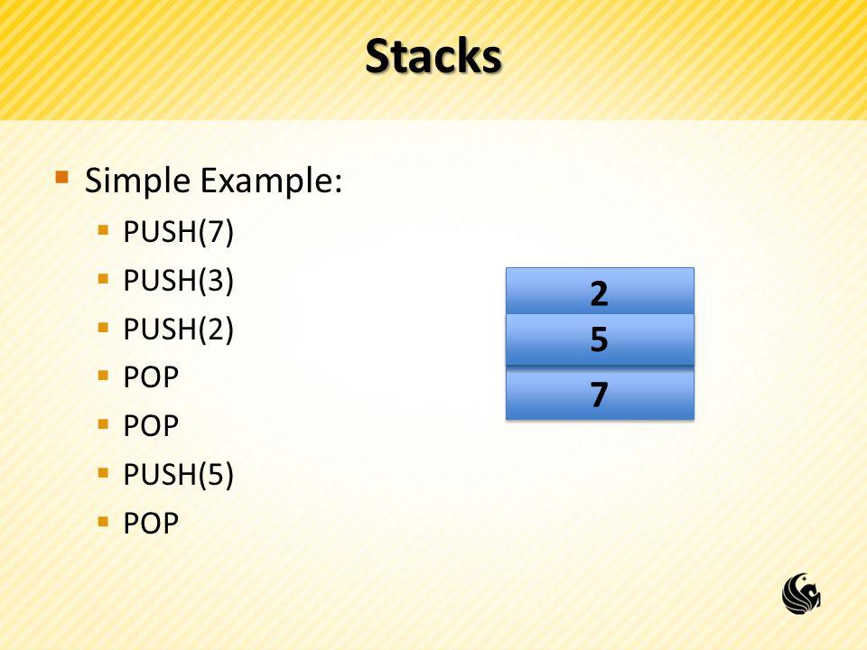Stacks  Simple Example:  PUSH(7)  PUSH(3)  PUSH(2)  POP  PUSH(5)  POP 7 7 3 3 2 2 5 5