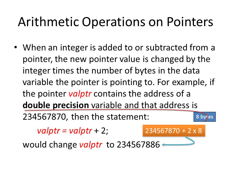 Arithmetic Operations on Pointers When an integer is added to or subtracted from a pointer, the new pointer value is changed by the integer times the number of bytes in the data variable the pointer is pointing to.