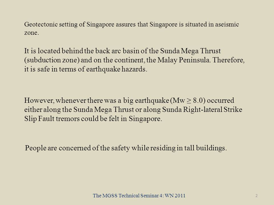 It is located behind the back arc basin of the Sunda Mega Thrust (subduction zone) and on the continent, the Malay Peninsula.