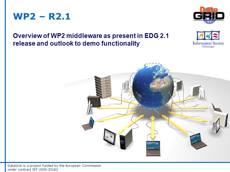 DataGrid is a project funded by the European Commission under contract IST-2000-25182 WP2 – R2.1 Overview of WP2 middleware as present in EDG 2.1 release and outlook to demo functionality