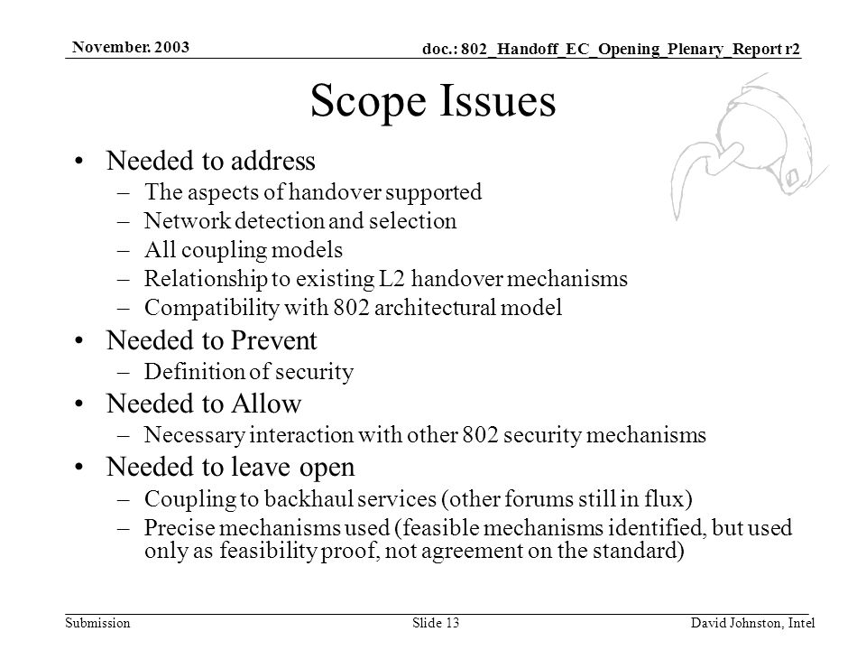 doc.: 802_Handoff_EC_Opening_Plenary_Report r2 Submission November. 2003 David Johnston, IntelSlide 13 Scope Issues Needed to address –The aspects of
