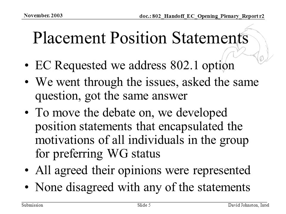 doc.: 802_Handoff_EC_Opening_Plenary_Report r2 Submission November. 2003 David Johnston, IntelSlide 5 Placement Position Statements EC Requested we ad