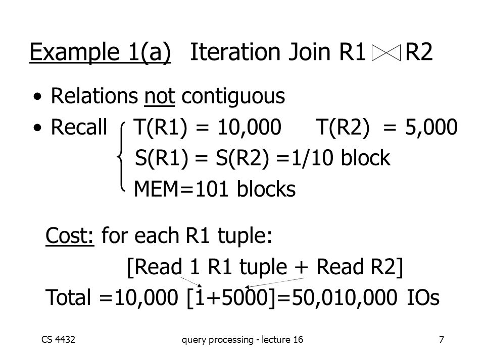 CS 4432query processing - lecture 167 Example 1(a) Iteration Join R1 R2 Relations not contiguous Recall T(R1) = 10,000 T(R2) = 5,000 S(R1) = S(R2) =1/10 block MEM=101 blocks Cost: for each R1 tuple: [Read 1 R1 tuple + Read R2] Total =10,000 [1+5000]=50,010,000 IOs