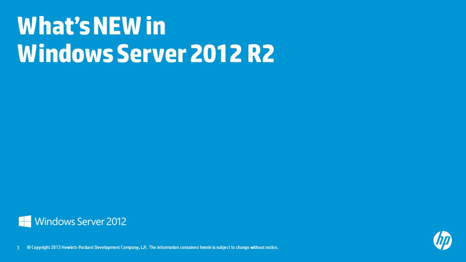 3 What's NEW in Windows Server 2012 R2