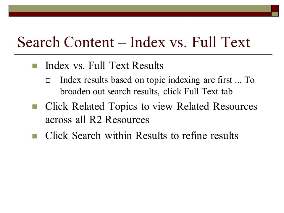 Search Content – Index vs. Full Text Index vs.