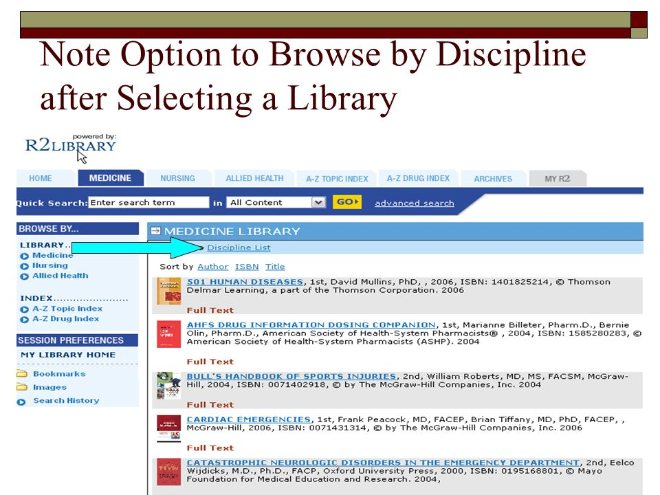 Note Option to Browse by Discipline after Selecting a Library