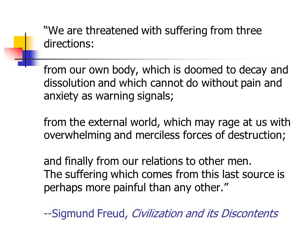We are threatened with suffering from three directions: from our own body, which is doomed to decay and dissolution and which cannot do without pain and anxiety as warning signals; from the external world, which may rage at us with overwhelming and merciless forces of destruction; and finally from our relations to other men.