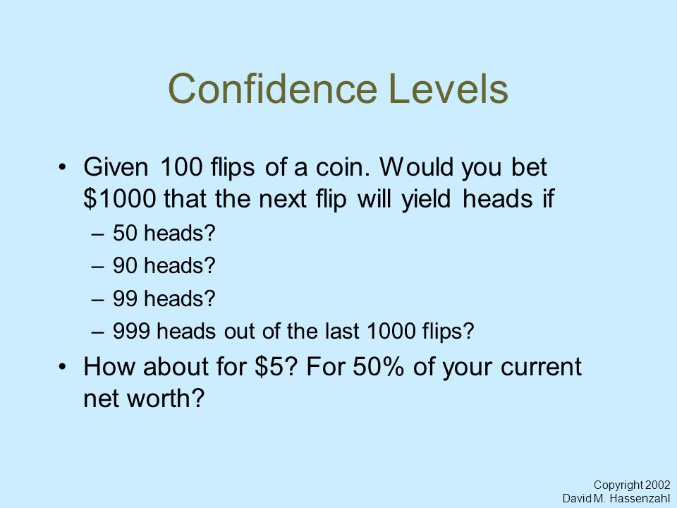 Copyright 2002 David M. Hassenzahl Confidence Levels Given 100 flips of a coin.