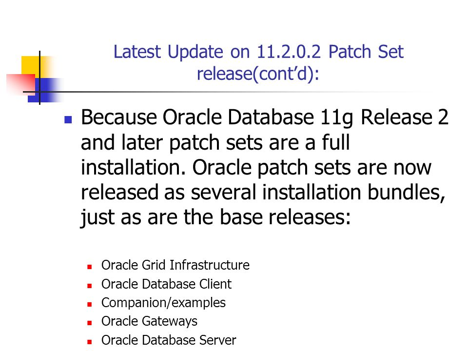 Latest Update on 11.2.0.2 Patch Set release(cont'd): Because Oracle Database 11g Release 2 and later patch sets are a full installation.
