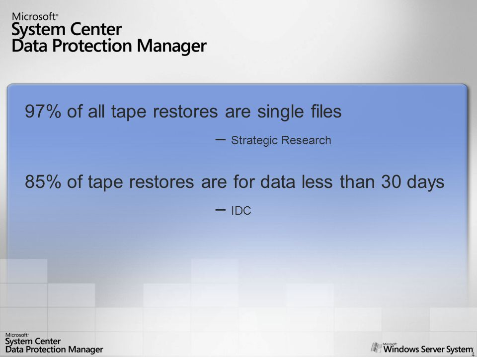 4 System Center Data Protection Manager 97% of all tape restores are single files – Strategic Research 85% of tape restores are for data less than 30 days – IDC