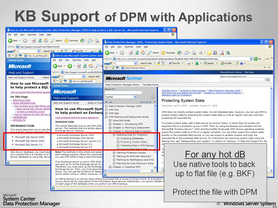 64 KB Support of DPM with Applications For any hot dB Use native tools to back up to flat file (e.g.