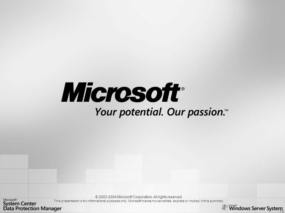 73 © 2003-2004 Microsoft Corporation. All rights reserved. This presentation is for informational purposes only. Microsoft makes no warranties, expres