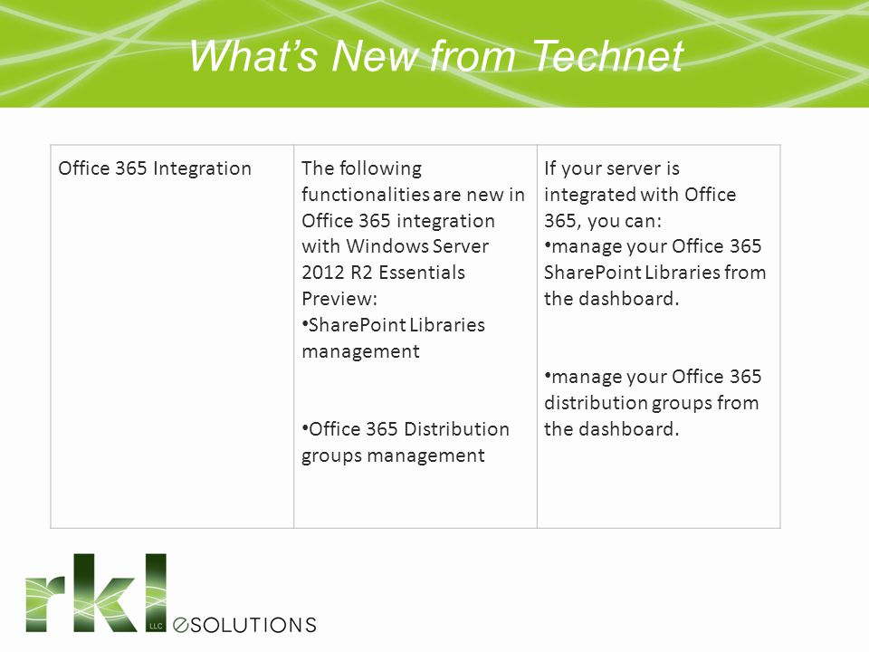 What's New from Technet Office 365 IntegrationThe following functionalities are new in Office 365 integration with Windows Server 2012 R2 Essentials P