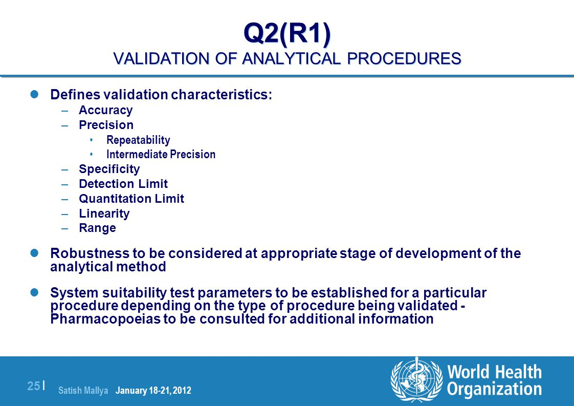 Satish Mallya January 20-22, 2010 25 | Q2(R1) VALIDATION OF ANALYTICAL PROCEDURES Defines validation characteristics: –Accuracy –Precision Repeatabili