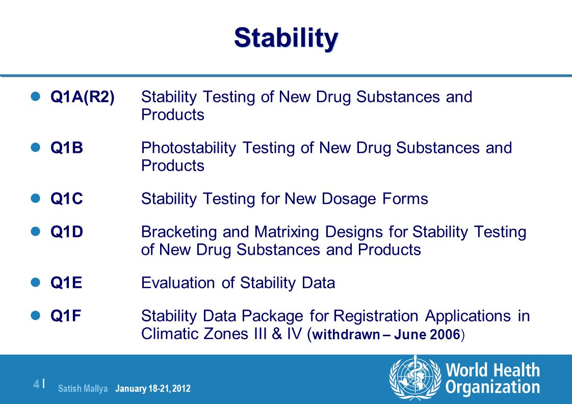 Satish Mallya January 20-22, 2010 4 |4 | Stability Q1A(R2) Stability Testing of New Drug Substances and Products Q1B Photostability Testing of New Dru