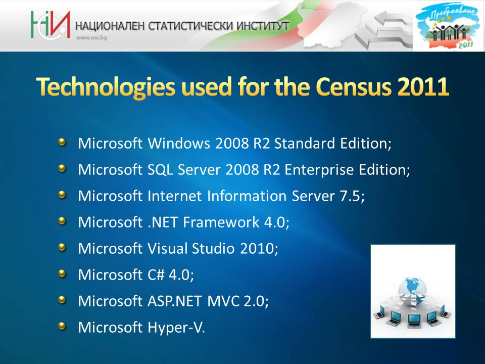 Microsoft Windows 2008 R2 Standard Edition; Microsoft SQL Server 2008 R2 Enterprise Edition; Microsoft Internet Information Server 7.5; Microsoft.NET Framework 4.0; Microsoft Visual Studio 2010; Microsoft C# 4.0; Microsoft ASP.NET MVC 2.0; Microsoft Hyper-V.