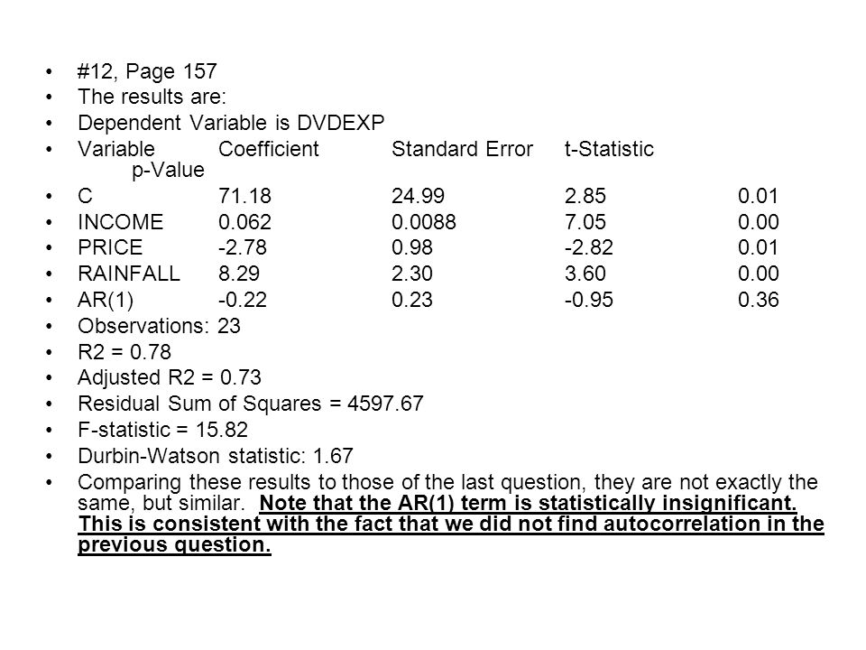 #11, Page 157 The results of the regression are: Dependent Variable is DVDEXP VariableCoefficientStandard Errort-Statisticp-Value C81.4623.473.470.00 INCOME0.0610.00986.270.00 PRICE-3.120.88-3.540.00 RAINFALL7.522.373.170.00 Observations: 24 R2 = 0.79 Adjusted R2 = 0.75 Residual Sum of Squares = 5038.14 F-statistic = 24.49 Durbin-Watson statistic: 2.32 The Durbin-Watson statistic comes out to 2.32.
