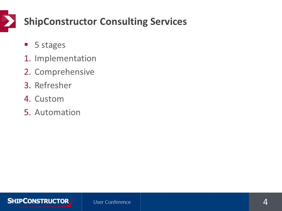 4  5 stages 1.Implementation 2.Comprehensive 3.Refresher 4.Custom 5.Automation ShipConstructor Consulting Services