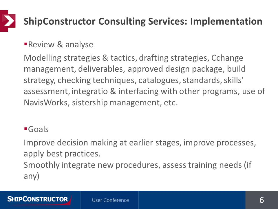 6  Review & analyse Modelling strategies & tactics, drafting strategies, Cchange management, deliverables, approved design package, build strategy, checking techniques, catalogues, standards, skills assessment, integratio & interfacing with other programs, use of NavisWorks, sistership management, etc.