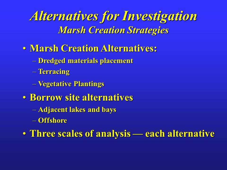 Alternatives for Investigation Marsh Creation Strategies Marsh Creation Alternatives:Marsh Creation Alternatives: –Dredged materials placement –Terracing –Vegetative Plantings Borrow site alternativesBorrow site alternatives –Adjacent lakes and bays –Offshore Three scales of analysis — each alternativeThree scales of analysis — each alternative