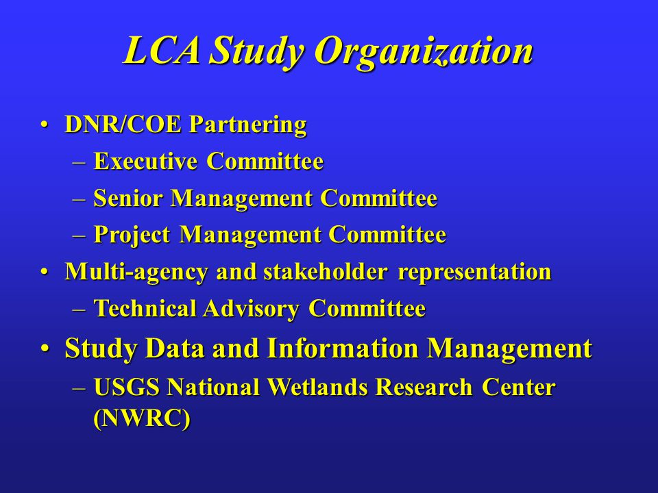 DNR/COE PartneringDNR/COE Partnering –Executive Committee –Senior Management Committee –Project Management Committee Multi-agency and stakeholder representationMulti-agency and stakeholder representation –Technical Advisory Committee Study Data and Information ManagementStudy Data and Information Management –USGS National Wetlands Research Center (NWRC) LCA Study Organization