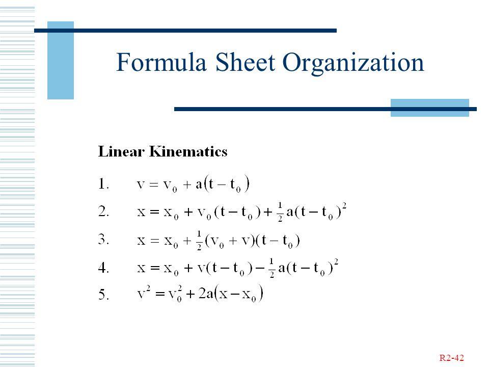 R2-42 Formula Sheet Organization