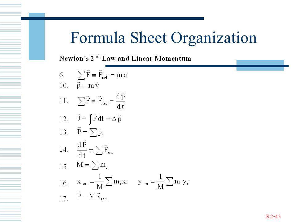 R2-43 Formula Sheet Organization