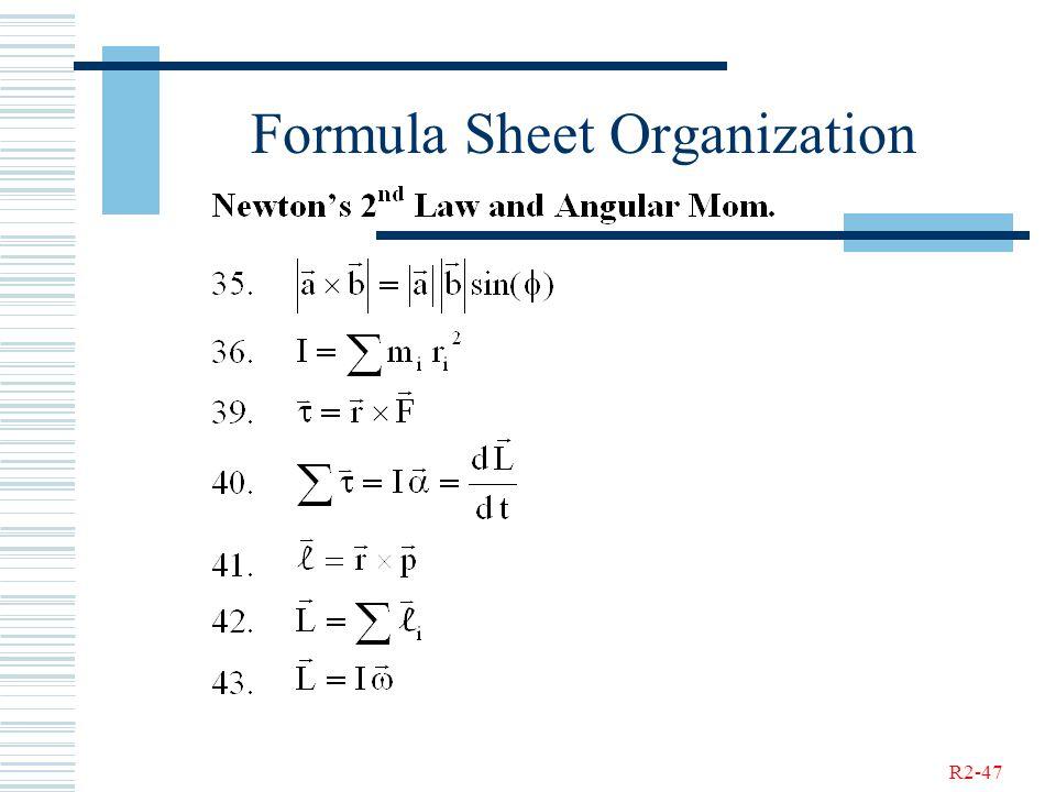 R2-47 Formula Sheet Organization