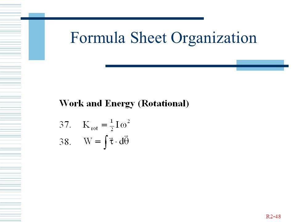 R2-48 Formula Sheet Organization