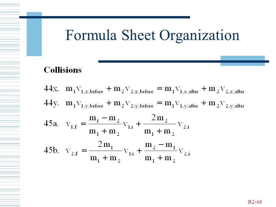 R2-49 Formula Sheet Organization